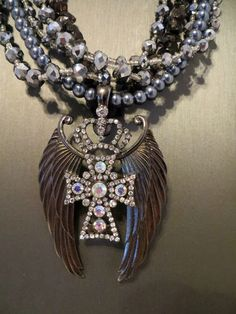 Cowgirl Bling CROSS AB RHINESTONES Crown ANGEL WINGS Pendant Necklace Set  BAHA RANCH WESTERN WEAR EBAY SELLER ID  SOLOEDITION