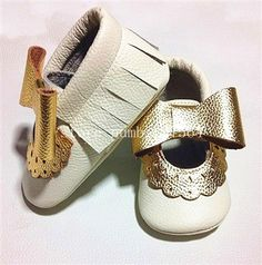Retail Baby Cow Leather Gold Fringe Moccasins Infant Boy Girl Cute White With Gold Polka Dot Fringe Shoes Mother & Kids