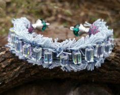Denim Cuff Bracelet with Cross and Black Bling by DenimReDooz