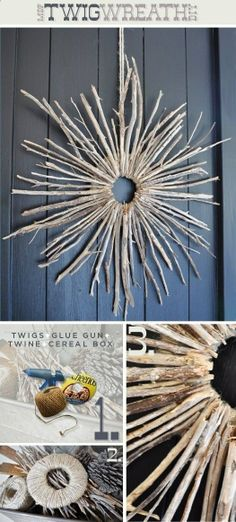 Earthy Starburst Twig Wreath - doing this! Do it smaller for really cool ornaments, repeat and hang on the fence in winter lit with little lights, do it bigger and attach it to a pole for a great yard ornament.