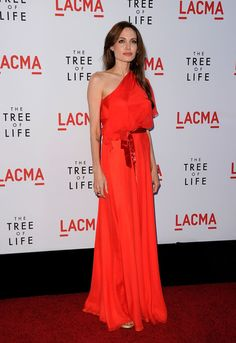 Angelina Jolie in Jenny Packham Long Red Coral Chiffon Dress