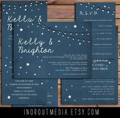 Rustic Wedding Invitations - Starry Nights, suite, strung lights, stars, outdoor wedding, evening wedding, Invitations, wedding program. $65.00, via Etsy.