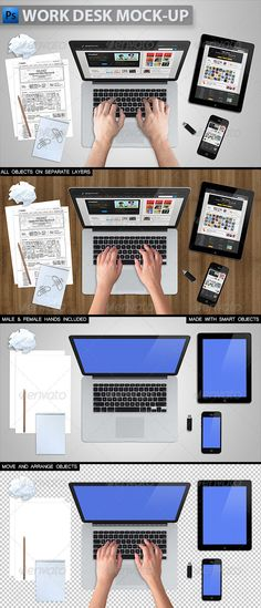 Work Desk Mockup — Photoshop PSD #tablet #realistic screen • Available here → https://graphicriver.net/item/work-desk-mockup/5746676?ref=pxcr