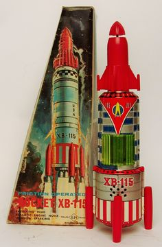 Vintage Japan Tin Friction Rocket XB 115