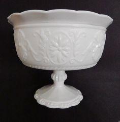 Daisy Compote ~ Indiana Glass #620 ~ Elegant White Ruffled Edge Pressed Glass