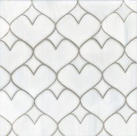 Hearts, a glass waterjet mosaic shown in Moonstone, is part of the Erin Adams Collection for New Ravenna Mosaics.  Take the next step: prices, samples and design help, http://www.newravenna.com/showrooms/