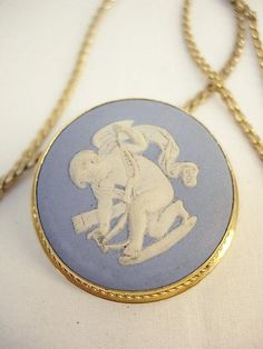 Vintage Wedgwood cherub necklace brooch made in England cupid...
