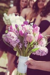 Purple tulips and hyacinth spring wedding bouquet Avant-Garde Florist