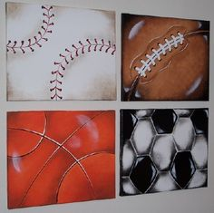 SPORTS BALLS Wall Art Paintings    16X20 in. per canvas      Boys Room Decor'