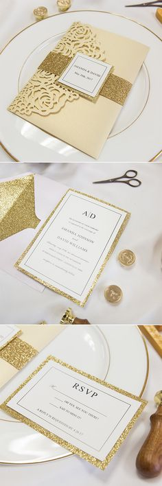 Champagne and gold pocket laser cut wedding invitations with glittter gold bellyband