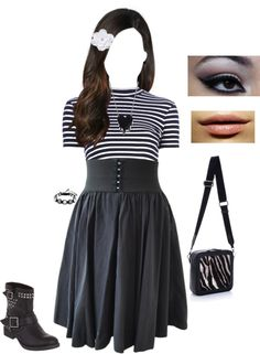 """""""Black and White Stripes"""" by skystyles on Polyvore"""
