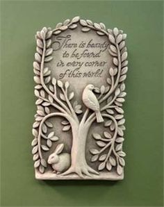 """Hidden Beauty Hand Cast Stone (Aged Stone) by Carruth Studio. $30.97. A bird and bunny enjoy the peaceful shelter of a willow tree. The finely sculpted detail reminds us to look around, take time to notice the hidden beauty in nature. Perfect for display in a sun room, or display on the deck outdoors. Remember, it's the tiny details that make life so enjoyable.  Verse reads: """"There is beauty to be found in every corner of this world"""" Hand Cast, It Cast, Name Plate Design, Name Plates For Home, Garden Plaques, Hidden Beauty, Cast Stone, Bottle Crafts, Home"""