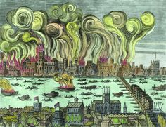 The Great Fire of London 1666 (woodcut, later colouration)              English School 17th Century
