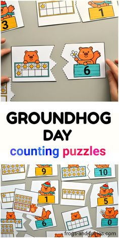 Your little learners will practice counting with these simple Groundhog Day themed two-piece number puzzles. #counting #printablesforkids #groundhogday