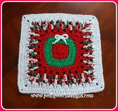 """This Christmas Wreath Afghan Square is a fun and easy afghan square to make. This free crochet pattern would make a great pillow, bag, table runner, lapghan or full size blanket."""