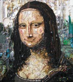 La Gioconda or Mona Lisa junk art by Jane Pierce Junk Art, Lisa Gherardini, Andy Warhol Marilyn, Mona Lisa Parody, Tachisme, Famous Portraits, Classic Portraits, Famous Artwork, Found Object Art