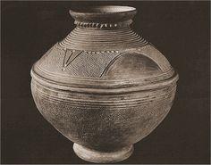 "Terracotta Wedding Pot (ikoko igbeyawo) made in Ilafon-Ikiti, Nigeria about 1930. No 72.1.3, Ita Yemoo Museum of Yoruba Pottery, Ile Ife, Nigeria. Height 11"", rim diameter, 7 1/8"". Used to wash the bride's feet as she enters the husband's house. Photo by Ron du Bois, 1988."