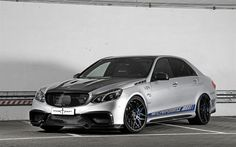 Download wallpapers Mercedes-Benz E-Class, AMG, Posaidon, W212, silver Mercedes, tuning E-Class, black wheels, German cars, Mercedes