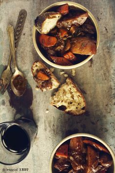 Patates Au Vin, a vegan spin on the French classic Coq Au Vin, Potato French Stew. (Vegan)