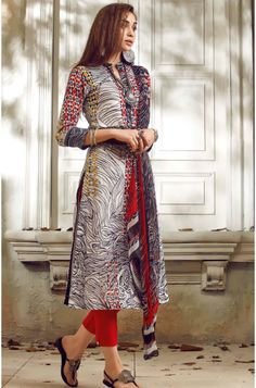 Multi-coloured Un-stitched Cotton Digital Printed Salwar Suit with Georgette Dupatta - SUM05