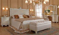 Luxus-Schlafzimmer-Set-Weiss-Lack-Furnier-Glanz-Klassische-Italienische-Stilmoebel