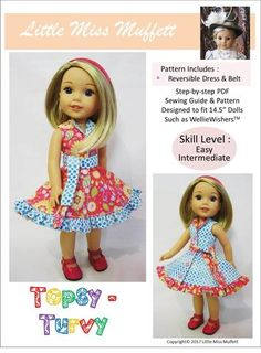 Pixie Faire Little Miss Muffett Topsy Turvy Doll Clothes Pattern Designed to Fit Dolls such as WellieWishers™ - PDF Doll Clothes Patterns, Pdf Sewing Patterns, Doll Patterns, Clothing Patterns, Dress Patterns, Heart Patterns, Wellie Wishers Dolls, Reversible Dress, Hook And Loop Tape