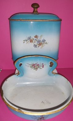 Blue and white enamelware fountain and wash by CorryKitschCabinets, $299.00