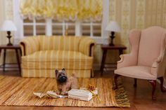 Dollhouse Miniature Cairn Terrier  1:12 Scale Artist Created and Furred  Visit my site on Etsy!