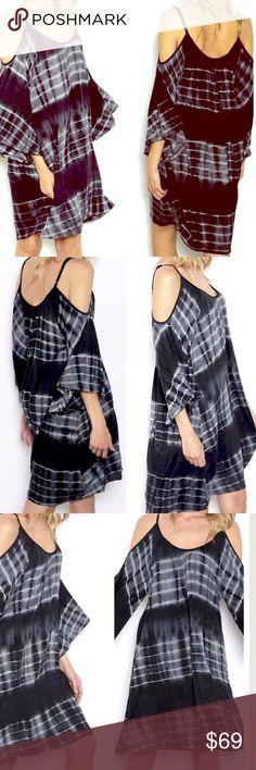 Ombré Dip Dye Sexy Shoulder Tunic Dress NWT Adorable Cold Shoulder Knit Dress! Tie Dye Print 95% Rayon 5% Span Super SOFT and Flattering Fit! Color is Black Oversized, Flowing Fit Shop our Facebook Shop! https://www.facebook.com/BohoLocoFashionBoutique/ Shop us on Pinterest! https://www.pinterest.com/BohoLocoFashion Shop us on Twitter! https://twitter.com/FashionBohoLoco Follow us on Instagram! https://instagram.com/FashionBohoLoco Striped Grey Shift Little Black Dress LBD shift Gingham…