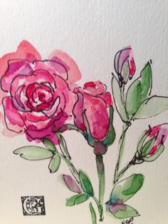 Roses Watercolor Card by gardenblooms on Etsy