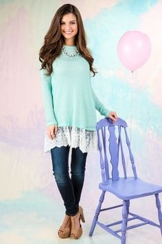 The perfect Spring sweater! Gorgeous, open knit mint sweater with lace hemline! Want, need, love! Repin if you need it!