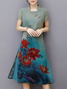 Elegant Short Sleeve Print Loose Plate Buckle Women Dresses  Specification  Style: Chinese Style,Fashion,Vintage  Sleeve Length: Short Sleeve  Material: Silk  Pattern: Printed  Size: S,M,L,XL,XXL  Collar: Stand Collar  Season: Spring,Summer  Dr...