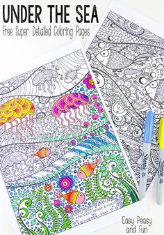 FREE Adult Coloring Pages - these free coloring sheets are perfect for grown-ups or older children who are looking for a challenge! Free printable coloring pages for adults are a great way to relax, unwind, and de-stress! Detailed Coloring Pages, Coloring Book Pages, Printable Coloring Pages, Coloring Sheets, Ocean Coloring Pages, Summer Coloring Pages, Mandala Coloring, Zentangle, Free Adult Coloring