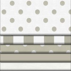 Taupe and White Dots and Stripes Fabric - Roman Shade fabric for guest room - white with taupe dots swatch ordered