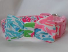 I want this for my boy dog!!! Dog Collar with Bow Made from 2013 Lilly Pulitzer Lets Cha Cha Fabric: