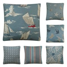 Cushion Covers Handmade With Blue Marine Nautical Clarke & Clarke Fabric Boat