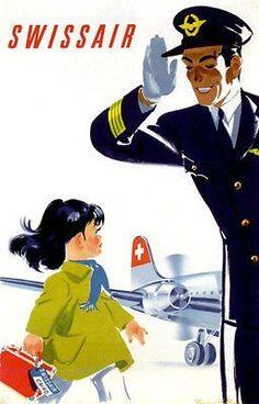 Swissair Pilot Cairo, 1949 - original vintage travel advertising poster by Donald Brun. Old Poster, Poster Retro, Poster Ads, Advertising Poster, Poster Vintage, Vintage Artwork, Travel Ads, Airline Travel, Air Travel