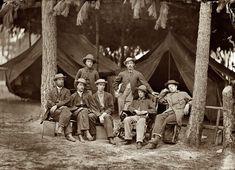 "August 1864. Petersburg, Virginia. ""Military telegraph operators at headquarters."""