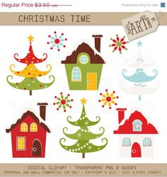 ON SALE Digital Clipart - Christmas Time / Christmas Trees / House (DC-7046) - Instant Download