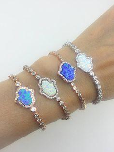 Opal Hamsa Zirconia Opal Bracelet Aqua Blue and White Fatima