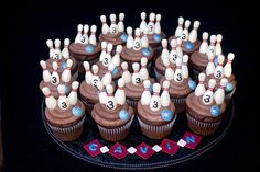 I made these jumbo chocolate cupcakes for Gavin who was turning 3 and having a bowling party. The bowling pins and balls are all chocolate and dusted with luster dust. Bowling Birthday Cakes, 70th Birthday Parties, Themed Parties, Fun Cupcakes, Cupcake Cakes, Cupcake Toppers, Fondant Cupcakes, Cupcake Ideas, Chocolate Cupcakes