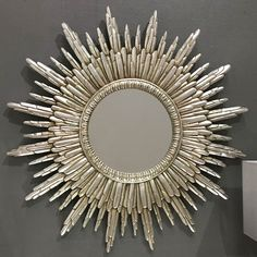 Buy Round Silver Sunburst Wall Mirror 89 x online now, with Free UK Delivery House Of Mirrors, Vintage Mirrors, Home Decor Mirrors, Large Round Mirror, Round Mirrors, Gold Sunburst Mirror, Mirror Inspiration, Overmantle Mirror