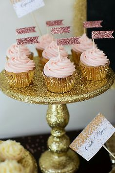 Pink + gold cupcakes