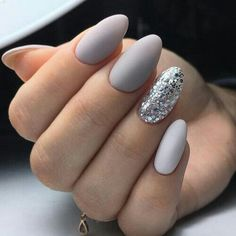 Grey and white nails with chunky silver glitter. ― re-pinned by Breanna L. ~Follow me and never miss a new nail design!~