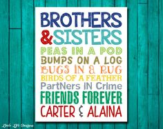 Brothers & Sisters. Sibling Wall Art. Kids by LittleLifeDesigns, $8.00