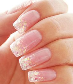 Sheer pink with glitter gradation and various size glitter