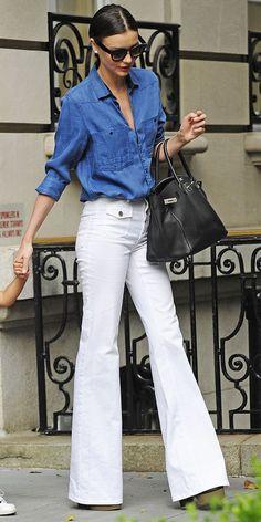 blue denim shirt, black handbag,  white flared jeans. street women fashion @roressclothes closet ideas