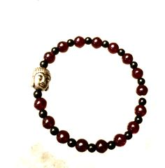 ॐ Blood Moon Stone & Black Onyx with Buddha ! Yoga & Meditation Bracelet Hand Made with Love 👌  Energy Infused ✨  Custom Orders