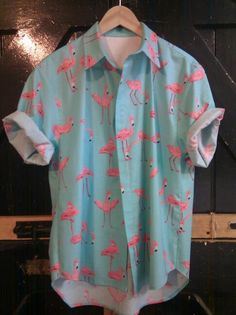 oh flamingo shirt . Camisa Emoji, Camisa Hippie, Grunge Tattoo, Style Masculin, Look Man, Vetement Fashion, Mens Fashion, Fashion Outfits, Mode Style