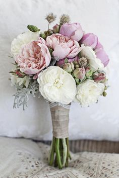 "Rustic | Say ""I do"" to these amazing arrangements. Peonies aren't just one of our favorite garden blooms ever – the lush flowers are also some of our all-time favorite fillers for beautiful wedding bouquets. Beloved for their sweet scent, bright color, and voluptuous blossoms, peonies are the picture-perfect addition to your bridal bouquet. Here are some of the prettiest peony bouquets, from bold and bright bridal flowers to subtle bridesmaid bouquets."